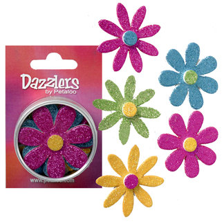 Petaloo - Dazzlers Collection - Large Glittered Florettes - Fuschia Blue Green and Yellow, CLEARANCE