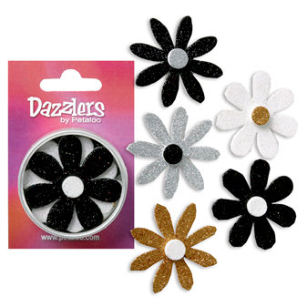 Petaloo - Dazzlers Collection - Large Glittered Florettes - Black White Gold and Silver, CLEARANCE