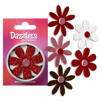 Petaloo - Dazzlers Collection - Large Glittered Florettes - Red White Pink and Chocolate