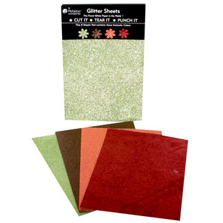 Petaloo - Glitter Paper Sheets - Green Brown Orange and Burgundy