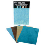 Petaloo - Glitter Paper Sheets - Aqua Teal Tan and Brown, CLEARANCE