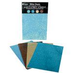 Petaloo - Glitter Paper Sheets - Aqua Teal Tan and Brown, CLEARANCE