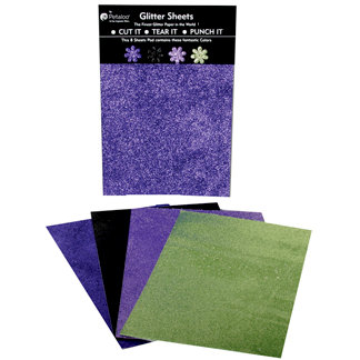 Petaloo - Glitter Paper Sheets - Purple Black Lavendar and Green