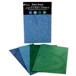 Petaloo - Glitter Paper Sheets - Dark Blue Light Blue Green and Chartreuse