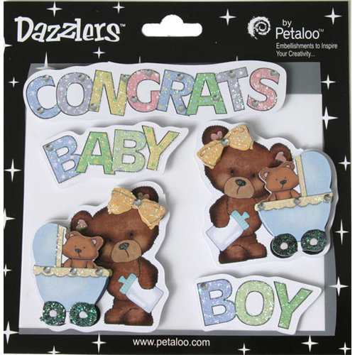 Petaloo - Dazzlers Collection - Glittered Sticker Shapes - Baby - Boy
