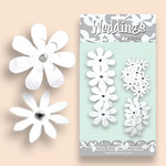 Petaloo - Celebrations Collection - Paper Flowers - Glittered Daisies - Wedding White, CLEARANCE