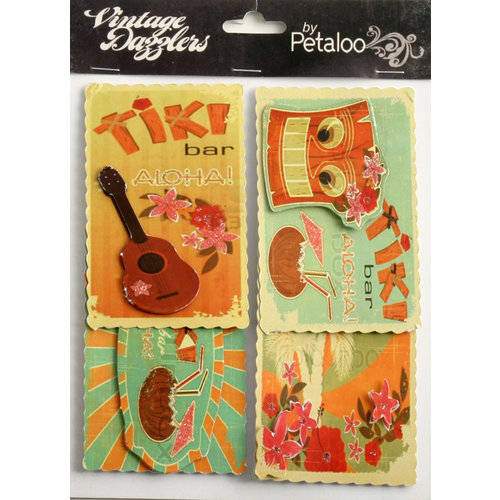 Petaloo - Vintage Dazzlers Collection - Glittered Sticker Shapes - Travel - Tiki Tiki