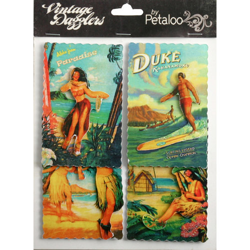 Petaloo - Vintage Dazzlers Collection - Glittered Sticker Shapes - Travel - Paradise Island