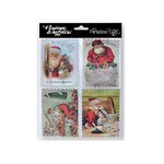 Petaloo - Vintage Dazzlers Collection - Christmas - Glittered Sticker Shapes - Victorian Santa