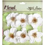 Petaloo - Devon Collection - Glittered Floral Embellishments - Bristol - White