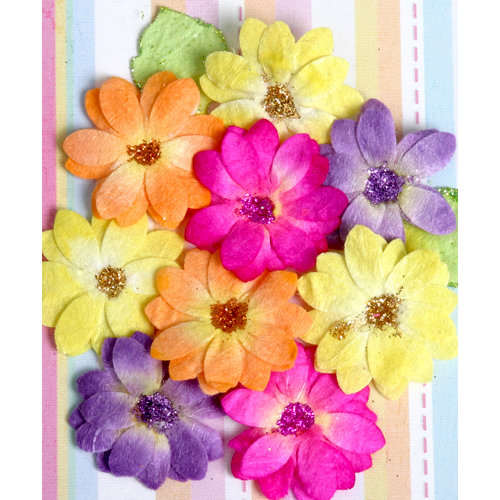Petaloo - Devon Collection - Glittered Floral Embellishments - Brighton - Fuchsia Purple Yellow and Orange