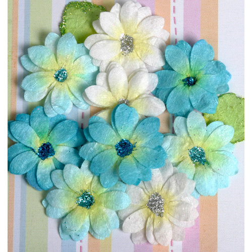 Petaloo - Devon Collection - Glittered Floral Embellishments - Brighton - White Light Blue and Dark Blue