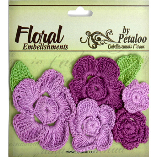 Petaloo - Devon Collection - Crocheted Flowers - Purples