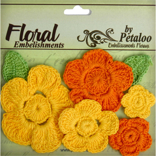 Petaloo - Devon Collection - Crocheted Flowers - Yellow and Orange