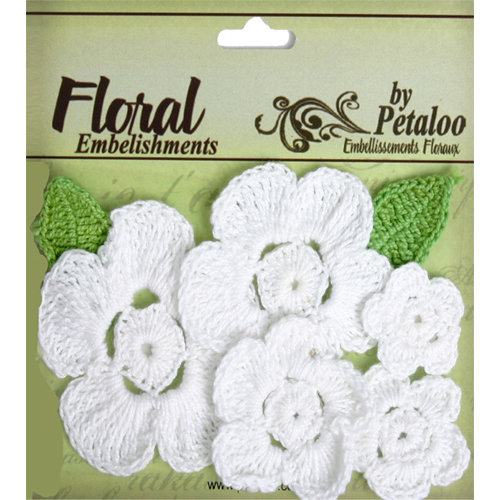 Petaloo - Devon Collection - Crocheted Flowers - White