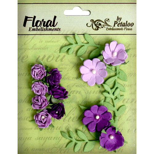 Petaloo - Devon Collection - Petites Mini Rose Clusters - Lavender and Purple