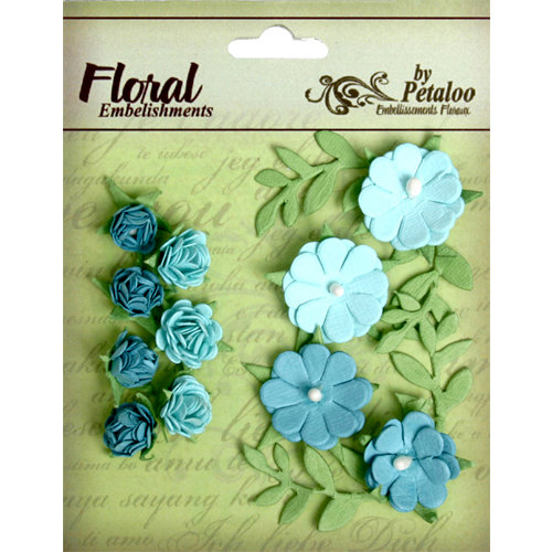 Petaloo - Devon Collection - Petites Mini Rose Clusters - Blue