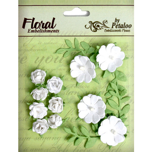 Petaloo - Devon Collection - Petites Mini Rose Clusters - White