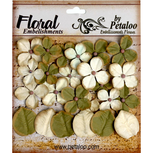 Petaloo - Darjeeling Collection - Floral Embellishments - Hydrangea - Cream and Green
