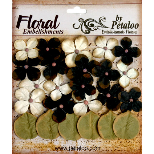 Petaloo - Darjeeling Collection - Floral Embellishments - Hydrangea - Black and Cream