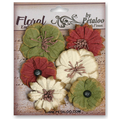 Petaloo - Darjeeling Collection - Floral Embellishments - Medium - Burgundy Cream and Green