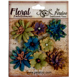 Petaloo - Darjeeling Collection - Floral Embellishments - Mini - Blue Eggplant and Green