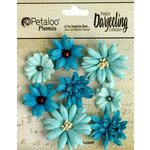 Petaloo - Printed Darjeeling Collection - Floral Embellishments - Mini Mix - Teastained Teals