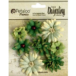 Petaloo - Printed Darjeeling Collection - Floral Embellishments - Mini Mix - Teastained Greens