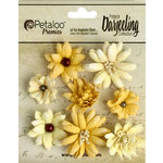 Petaloo - Printed Darjeeling Collection - Floral Embellishments - Mini Mix - Teastained Yellow