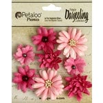 Petaloo - Printed Darjeeling Collection - Floral Embellishments - Mini Mix - Teastained Pink