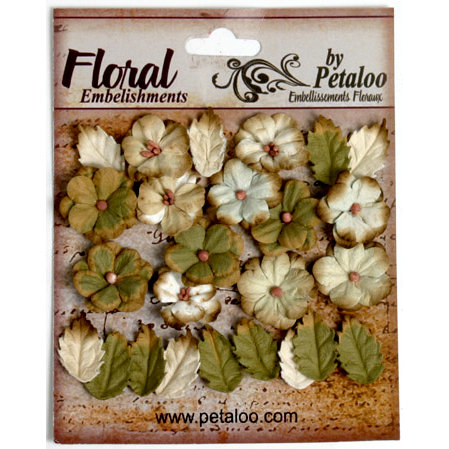 Petaloo - Darjeeling Collection - Floral Embellishments - Petites - Cream and Green