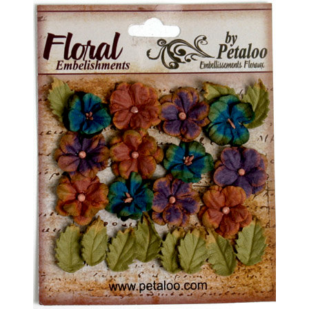 Petaloo - Darjeeling Collection - Floral Embellishments - Petites - Blue Eggplant and Brown