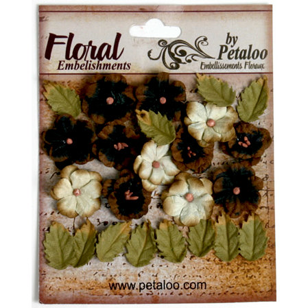 Petaloo - Darjeeling Collection - Floral Embellishments - Petites - Black and Cream