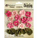 Petaloo - Printed Darjeeling Collection - Floral Embellishments - Petites - Teastained Pink