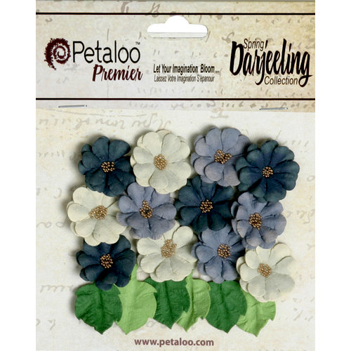 Petaloo - Darjeeling Collection - Floral Embellishments - Mini Daisies with Leaves - Nightfall