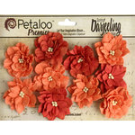 Petaloo - Printed Darjeeling Collection - Floral Embellishments - Dahlias - Teastained Spice