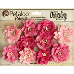 Petaloo - Printed Darjeeling Collection - Floral Embellishments - Dahlias - Teastained Pink