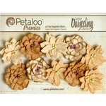 Petaloo - Darjeeling Collection - Floral Embellishments - Dahlias - Shabby Beige