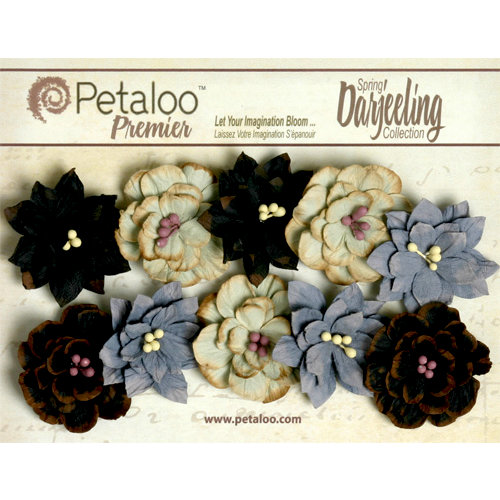 Petaloo - Darjeeling Collection - Floral Embellishments - Dahlias - Nightfall