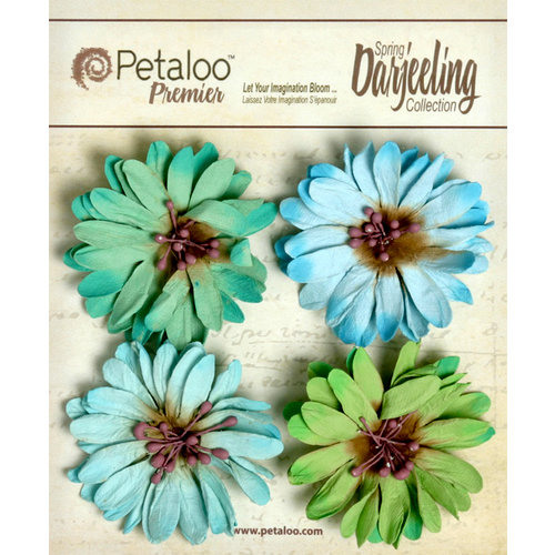Petaloo - Darjeeling Collection - Floral Embellishments - Daisies - Cottage Blue