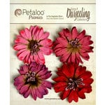 Petaloo - Darjeeling Collection - Floral Embellishments - Daisies - Red Raspberry