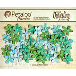 Petaloo - Darjeeling Collection - Floral Embellishments - Mini Pearl Daisies - Cottage Blue