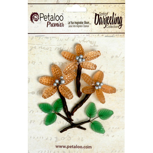 Petaloo - Darjeeling Collection - Glass Flower with Leaves - Pink