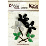 Petaloo - Darjeeling Collection - Glass Flower with Leaves - Black and White