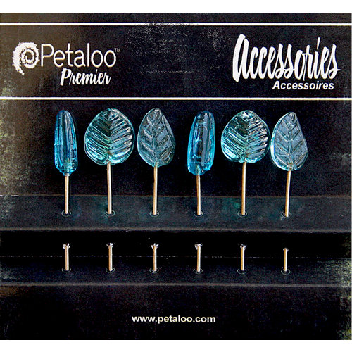 Petaloo - Darjeeling Collection - Glass Ornament Pins - Blue