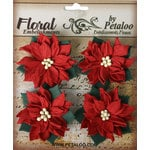 Petaloo - Darjeeling Collection - Floral Embellishments - Medium - Poinsettias - Red