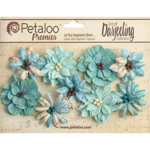 Petaloo - Printed Darjeeling Collection - Floral Embellishments - Wild Blossoms - Medium - Aqua