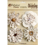 Petaloo - Printed Darjeeling Collection - Floral Embellishments - Wild Blossoms - Large - White