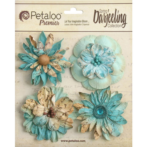 Petaloo - Printed Darjeeling Collection - Floral Embellishments - Wild Blossoms - Large - Aqua