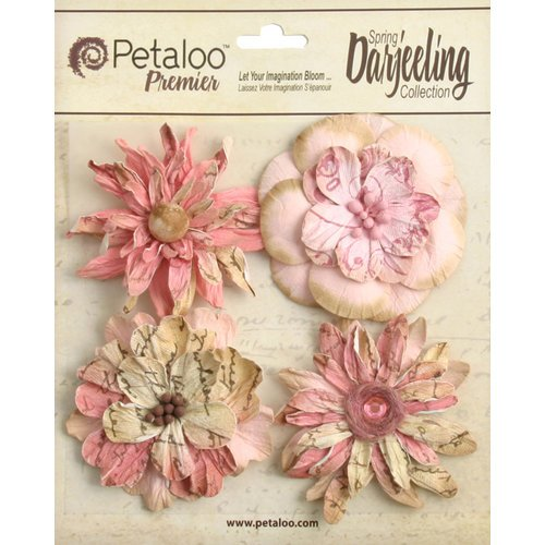Petaloo - Printed Darjeeling Collection - Floral Embellishments - Wild Blossoms - Large - Pink